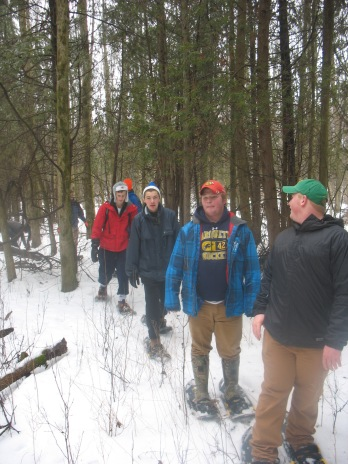 MUHS students snowshoeing on the Schoofs Preserve