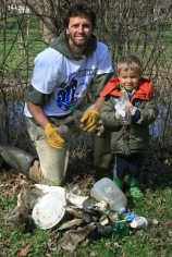 Joe and Nathaniel Meyer at the Menominee River Clean-up