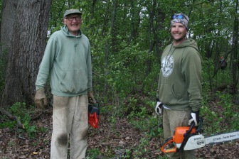 76 year old Ernie Meyer and Quentin Maxwell helping cut the Buckthorn