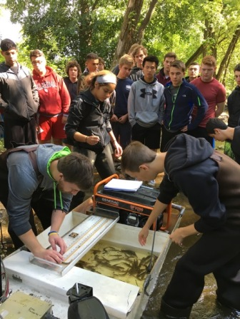 College students teaching MUHS students about fish monitoring