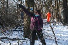 Marquette High School's Julie Felser helps remove buckthorn from the future nature trail.