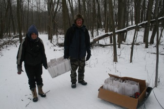 Braving the cold and setting up the trail for the candlelight hike
