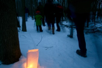 Candle-light hike at Winter Carnival