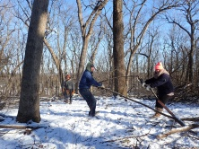 German teacher Ryan Grusenski and Erica Zunac show the buckthorn who's boss