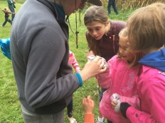 Catching insects as part of family retreat weekend